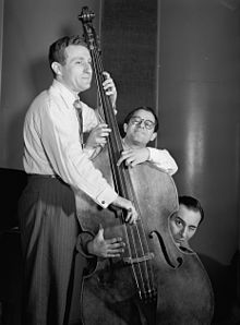 Jack Lesberg, Max Kaminsky, and Peanuts Hucko, Eddie Condon's, New York, N.Y., ca. May 1947. Image: Gottlieb