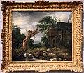 Jacob van ruysdael, paesaggio con case per metà in legno e tronco fatto a pezzi, 1653.jpg