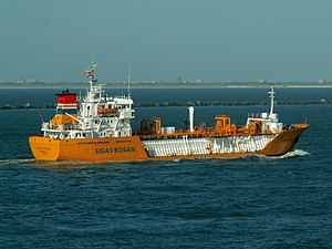 Jakob Kosan p2-1 approaching Port of Rotterdam, Holland 15-Jul-2006.jpg