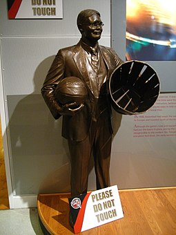 Statue of James Naismith at Basketball Hall of Fame and Museum in Springfield, Massachusetts James Naismith.jpg
