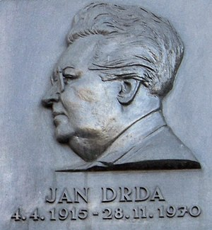 Jan Drda - Plaque for Jan Drda in New Town, Prague.
