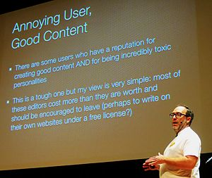 Jimmy Wales at Wikimania 2014 closing ceremony - annoying user good content (cropped).jpg