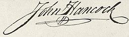 Firma de John Hancock en la Declaración de Independencia