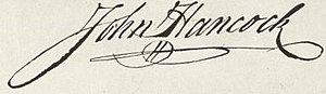 Hancock's signature as it appears on the engro...