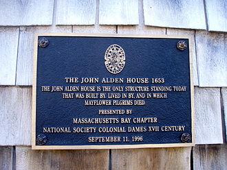John Alden (sailor) - Image: John Alden House historic marker