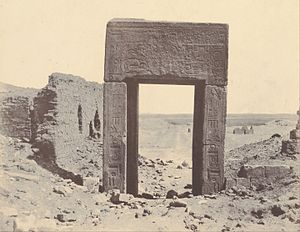 El-Assasif - 1854 photo of a Pink Granite Gate, by John Beasley Greene