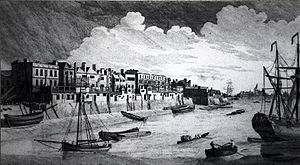 Limehouse - John Boydell's view of the riverside at Limehouse in 1751 shows respectable houses and shipyards crowding onto the riverfront