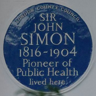 John Simon (pathologist) - Blue plaque, 40 Kensington Square, Kensington, London