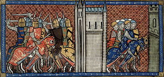 Battle of Roche-au-Moine - King John of England in battle with the French (left), Prince Louis VIII of France on the march (right).