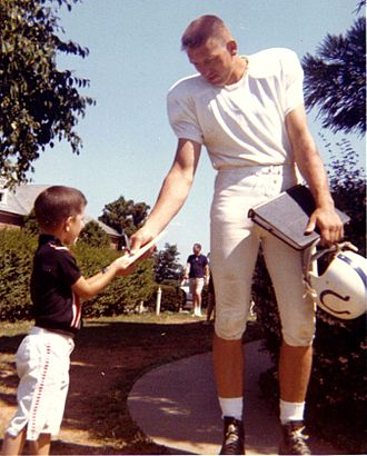 "Indianapolis Colts - Pro Football Hall of Fame inductee Johnny Unitas (1933–2002),  was the Baltimore Colts' starting quarterback and famed ""Number 19"", from 1956 to 1972. Unitas was raised in the Pittsburgh area and played earlier for the University of Louisville in Louisville, Kentucky"