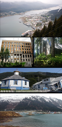 Clockwise from top: Downtown Juneau, Shrine of St. Therese, St. Nicholas Russian Orthodox Church, Juneau-Douglas Bridge, Alaska State Capitol