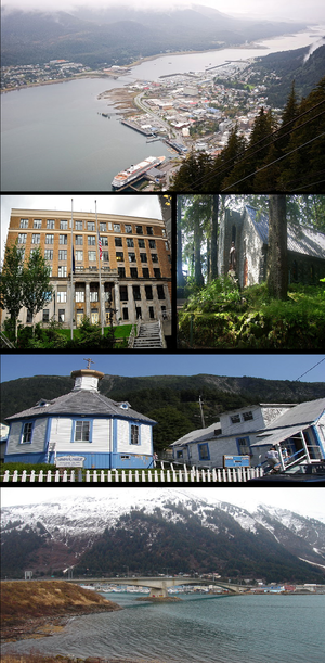 Juneau, Alaska - Clockwise from top: Downtown Juneau, Shrine of St. Therese, St. Nicholas Russian Orthodox Church, Juneau-Douglas Bridge, Alaska State Capitol