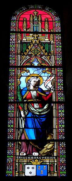 Vitrail de l'église Saint-Martin de Juvigné (53). Sainte-Marguerite-d'Antioche.