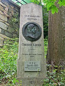 Körnerdenkmal auf der Landeskrone bei Görlitz für einen Besuch 1809 (Quelle: Wikimedia)