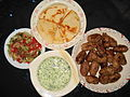 Kafta with Salad, Chutney and Pita Bread.JPG
