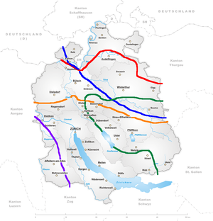 """Zürich German - Isoglosses in the canton of Zurich. The red line marks the transition of /äng/ """"narrow"""" vs. /eng/ in the dialect of the Thurgau. The green line separates the /o:big/ """"evening"""" of the Oberland from  /a:big/ elsewhere."""