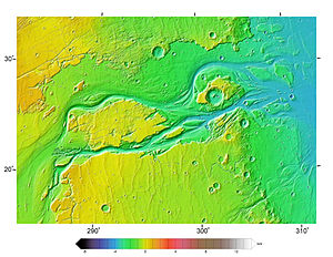 Topography map of Kasei Valles, Mars