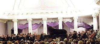 Kharkiv Philharmonic Society - Academic Symphony Orchestra in a concert at the Kharkiv Philharmonic.
