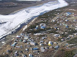 Aerial view of Kiana and the Kobuk River.