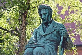 Regine Olsen - Statue of Søren Kierkegaard by Louis Hasselriis