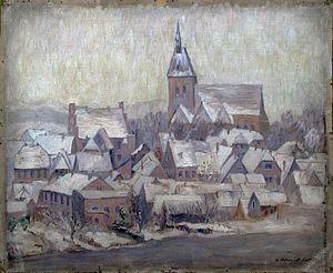 Künstlerische Darstellung der winterlichen Stadt