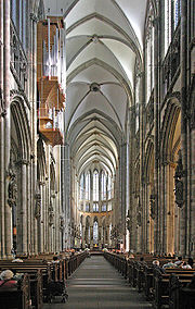 The Gothic east end of Cologne Cathedral represents the extreme of verticality. (nave- 19th century)