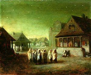 Kiddush levana - Jews during Kiddush levana, painting by Wacław Koniuszko in the National Museum in Warsaw