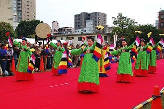 Korean dance - Muhee, dancers performing Gain jeon mokdan, one of the Hyangak jeongjae