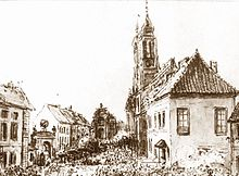 A black and white sketch showing the Krakowskie Przedmieście Street with houses on both sides.