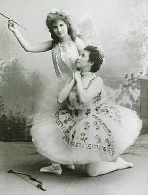 Le Réveil de Flore - Mathilde Kschessinskaya as the goddess Flora (right) and Vera Trefilova as the god Cupid (left) in the original production of Le Réveil de Flore, 1894.