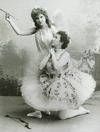Le Réveil de Flore - Mathilde Kschessinskaya as the goddess Flora (right) and Vera Trefilova as the god Cupid (left) in the original production of Le Réveil de Flore, 1894.