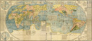 Kunyu Wanguo Quantu - Unattributed (1604?), two page colored Japanese copy of the 1602 map