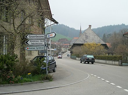 Road with traffic signs in the outskirts of Bern, Switzerland Lutzelfluh-Goldbach3.jpg