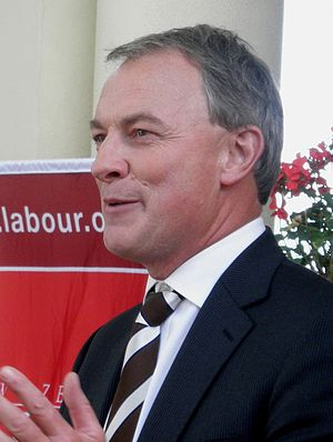 English: Labour leader Phil Goff addresses a c...