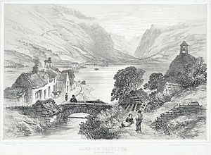 Tal-y-llyn Lake - Black and white print of lithograph by Samuel Prout, 1783-1852