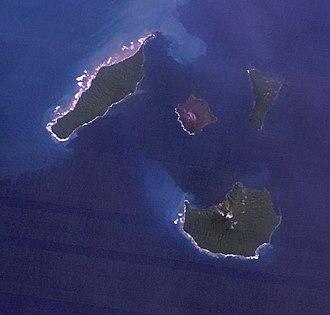Krakatoa - Satellite view of Krakatau Islands, 18 May 1992