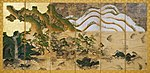 Six section folding screen with landscape painting in gold, brown green and white colors.