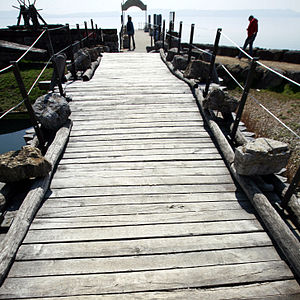 La Tène culture - Reconstruction of one of the bridges at the La Tène site