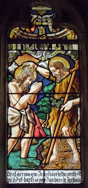 Maîtresse-vitre de l'église Saint-Jean-Baptiste de Le Croisty (56). Détail. Baptême du Christ (moderne).