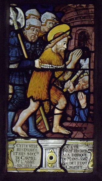 Maîtresse-vitre de l'église Saint-Jean-Baptiste de Le Croisty (56). Détail. Emprisonnement de Saint-Jean-Baptiste.