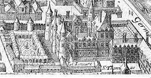 Cour Carrée - The castle of the Louvre on a plan of 1615 with two walls still medieval and two walls in Renaissance style.