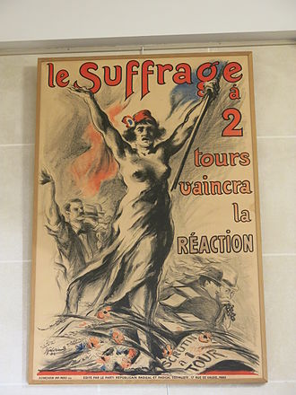Reactionary - French poster saying that suffrage with 2 steps will win against reactionary people (1932).