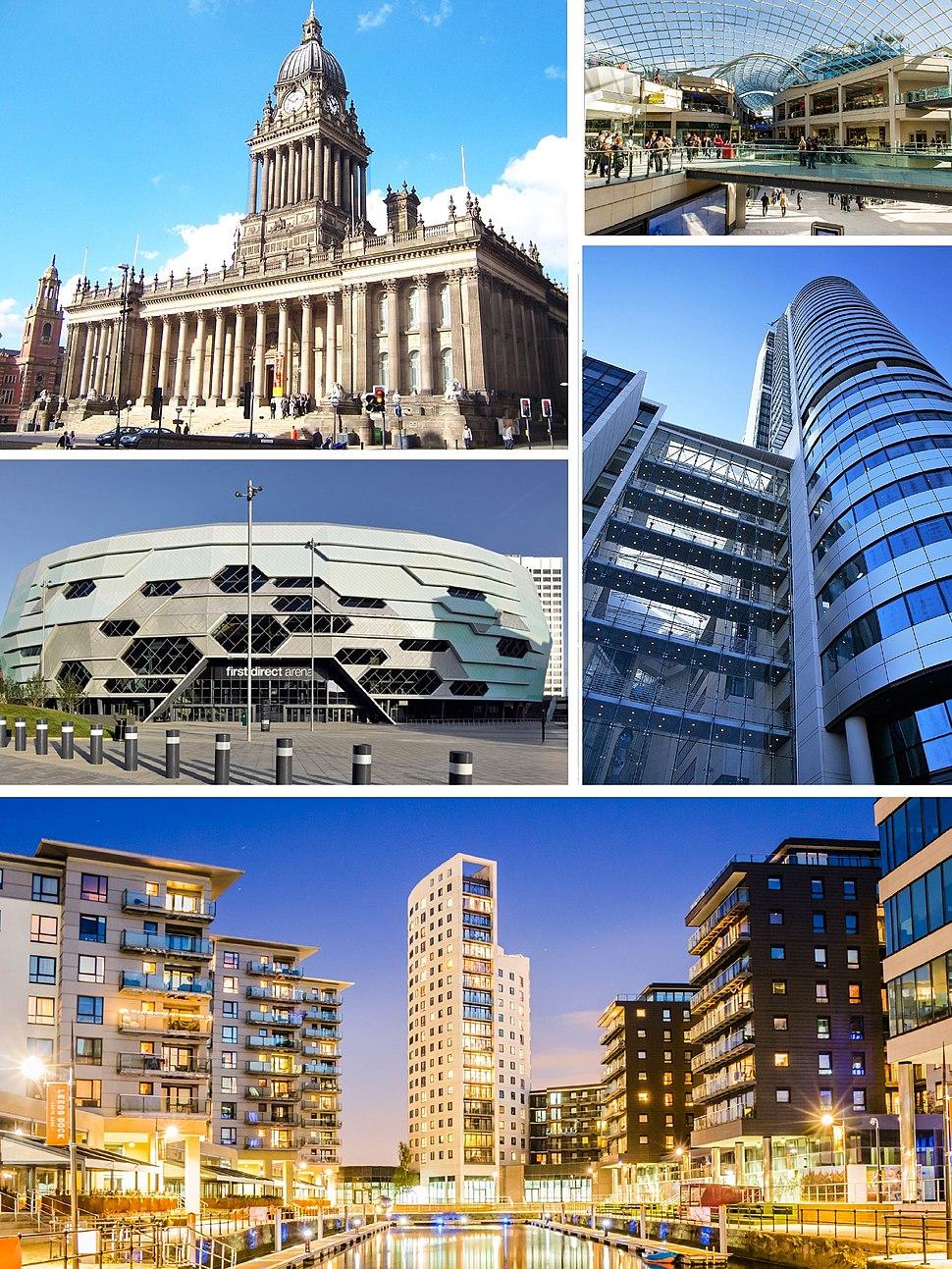 Clockwise from top left: Leeds Town Hall, Trinity Leeds, Bridgewater Place, Leeds Dock, First Direct Arena