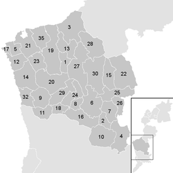 Location of the municipality of Oberwart district in the Oberwart district (clickable map)