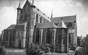 Pieterskerk, Leiden - Old postcard of the church