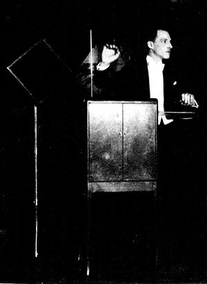 DETAIL of Leon Theremin performing a trio for ...