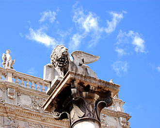 Verona - The Lion of Saint Mark, located in Piazza delle Erbe, symbol of Venetian Verona