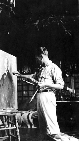 Leopold Seyffert - Leopold Seyffert painting William Burnham on Suttons Island, Maine 1916