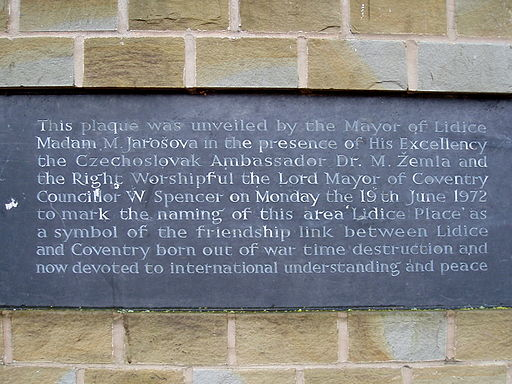 Lidice Plaque. Coventry UK