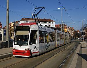 Trams in Nuremberg - A GT6N tram in Friedrich-Ebert-Platz, 2012.